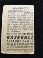 1952 Bowman Gum Lew Burdette Baseball Card