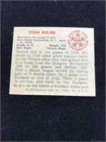 1950 Bowman Gum Stan Rojek Baseball Cards