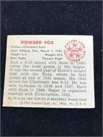 1950 Bowman Gum Howard Fox Baseball Card
