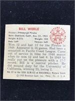 1950 Bowman Gum Bill Werle Baseball Card