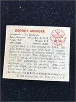 1950 Bowman Gum George Munger Baseball Card