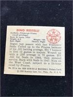 1950 Bowman Gum Dino Restelli Baseball Card