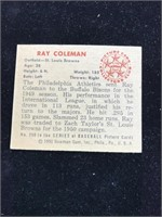1950 Bowman Gum Ray Coleman Baseball Card