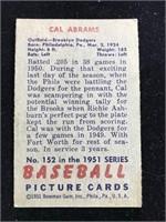 1951 Bowman Gum Cal Abrams Baseball Card