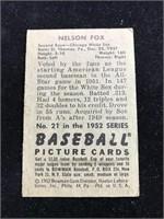 1952 Bowman Gum Nelson Fox Baseball Card