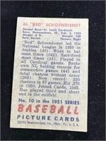 "1951 Bowman Gum Al ""Red"" Schoendiest Baseball Card"