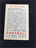 """1951 Bowman Gum Earl """"Jug? Girard Football Card"""