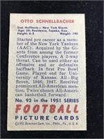1951 Bowman Gum Otto Schnellbacher Football Card
