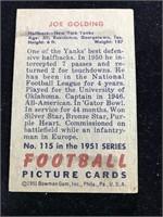 1951 Bowman Gum Joe Golding Football Card
