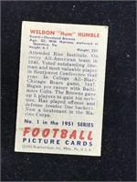"""1951 Bowman Gum Weldon """"Hum? Humble Football Card"""