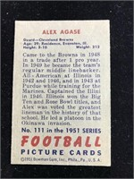 1951 Bowman Gum Alex Agase Football Card