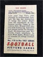 1951 Bowman Gum Vic Sears Football Card