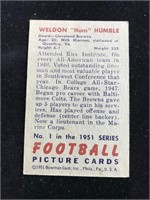 "1951 Bowman Gum Weldon ""Hum"" Humble Football Card"