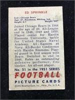 1951 Bowman Gum Ed Sprinkle Football Card