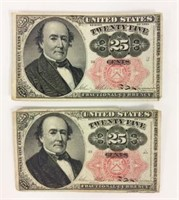Two 1874 25 cent Fractional Currency Notes