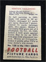 1951 Bowman Gum Venton Yablonski Football Card