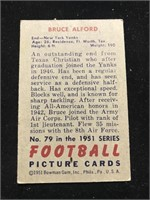 1951 Bowman Gum Bruce Alford Football Card