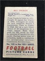 1951 Bowman Gum Bill Swiacki Football Card