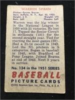 1951 Bowman Gum Warren Spahn Baseball Card