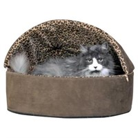 K&H LEOPARD PRINT HEATEDHOODED SMALL PET BED