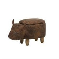 FAUX LEATHER STORAGE STOOL COW