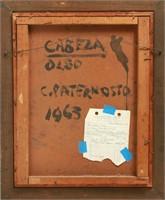 """Cesar Paternosto """"Cabeza"""" Oil on Board"""