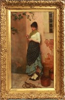 Charles Haigh-Wood Lady in Waiting Oil on Canvas