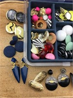 Plastic Box Full of Pierced and Clip Earrings