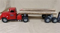 Tonka Toys truck and trailer with logs