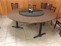 6' Round Dining Table w/ Lazy Susan - 3 bases