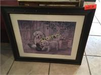 Framed Dog Picture - 24 x 20