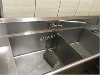 """L"" Shaped S/S Left Dishwasher Tabling w/ Dbl Sink"