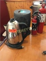 Heater, 2 Fire Extinguishers, Kettle