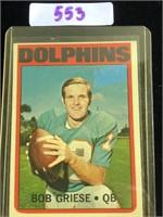 1972 Bob Griese Football Card