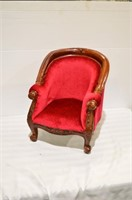 Child's / Doll Sized Carved Upholstered Chair