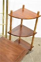 Metal Shelf, Corner Shelf and Pedestal Table