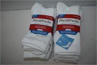 (8) Pairs Medi Peds Cushioned Sole Socks Size L