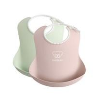 BABYBJÖRN Baby Bib, 2-pack, Powder Green/Powder