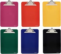 Plastic Clipboards with Metal Clip, Assorted