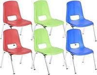 "6 Pack 14"" School Stack Chair, Chrome Legs, Assor"