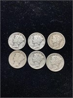 Lot of 6 Mercury Dimes