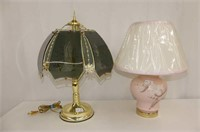 Pink Floral Base Table Lamp, Touch Base Tri-Light