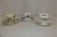 3 Cup & Saucers--Paragon, Etc.