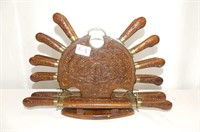 21 Pc. Wooden Stand & Handle Knife & Fork Set