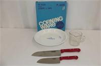Corning 20cm Pie Plate, 2 Santoku Knives,