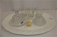 Turkey Platter, 2 PW Butter Dishes, 3 Tumblers