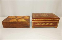2 Wooden Dresser Boxes, Button Holer, 2 Compacts