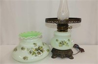 "Mint Green & Floral Hurricane Table Lamp, 20""H"