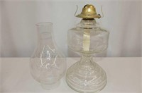 """Round Base Coal Oil Lamp w/Shade 19""""H, Silverplate"""