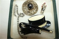 2 Trays of Costume Jewellery--Hat & Gloves Pin
